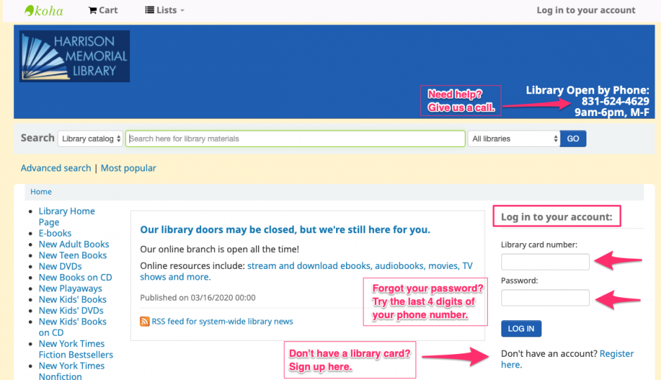 Screenshot of the library catalog with arrows pointing to the account login and new account registration sections.