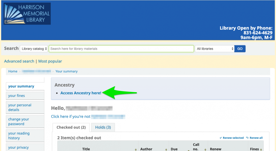 Screenshot of a logged in library account with an arrow pointing to a link to Ancestry.