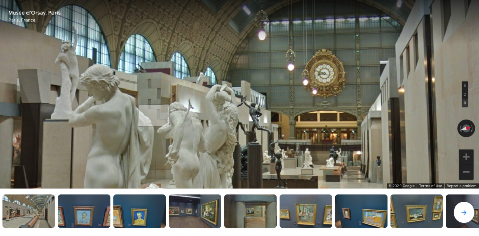 Screen shot of a virtual tour of the Musee D'Orsay in Paris, France.