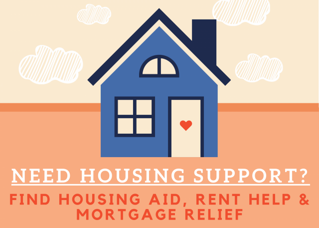 "Simple drawing of a blue house with a heart on the front door. ""Need housing support? Find housing aid, rent help & mortgage relief."""