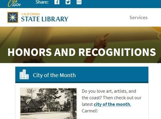 Screenshot from California State Library website, Honors and Recognitions section.